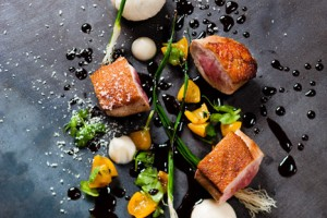 Pan-Seared-Local-Duck-Cashew-and-Turnip-Puree-Kumquat-jam-and-Jasmine-Tea-Jus1